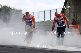 An oil spill is dealt with by marshals during the stopped F3 race. 18.07.2020. Formula 1 World Championship, Rd 3, Hungarian Grand Prix, Budapest, Hungary, Qualifying Day.