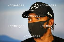 Lewis Hamilton (GBR) Mercedes AMG F1 in the FIA Press Conference. 16.07.2020. Formula 1 World Championship, Rd 3, Hungarian Grand Prix, Budapest, Hungary, Preparation Day.