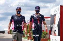 (L to R): Sergio Perez (MEX) Racing Point F1 Team and Lance Stroll (CDN) Racing Point F1 Team. 16.07.2020. Formula 1 World Championship, Rd 3, Hungarian Grand Prix, Budapest, Hungary, Preparation Day.