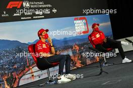 (L to R): Charles Leclerc (MON) Ferrari and team mate Sebastian Vettel (GER) Ferrari in the FIA Press Conference. 16.07.2020. Formula 1 World Championship, Rd 3, Hungarian Grand Prix, Budapest, Hungary, Preparation Day.