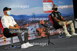 (L to R): Valtteri Bottas (FIN) Mercedes AMG F1 and Lewis Hamilton (GBR) Mercedes AMG F1 in the FIA Press Conference. 16.07.2020. Formula 1 World Championship, Rd 3, Hungarian Grand Prix, Budapest, Hungary, Preparation Day.