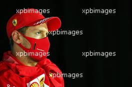 Sebastian Vettel (GER) Ferrari in the FIA Press Conference. 16.07.2020. Formula 1 World Championship, Rd 3, Hungarian Grand Prix, Budapest, Hungary, Preparation Day.