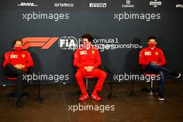 (L to R): Sebastian Vettel (GER) Ferrari; Mattia Binotto (ITA) Ferrari Team Principal; and Charles Leclerc (MON) Ferrari, in the FIA Press Conference. 30.10.2020. Formula 1 World Championship, Rd 13, Emilia Romagna Grand Prix, Imola, Italy, Practice Day.