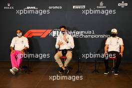 (L to R): Lewis Hamilton (GBR) Mercedes AMG F1; Toto Wolff (GER) Mercedes AMG F1 Shareholder and Executive Director; Valtteri Bottas (FIN) Mercedes AMG F1, in the FIA Press Conference. 30.10.2020. Formula 1 World Championship, Rd 13, Emilia Romagna Grand Prix, Imola, Italy, Practice Day.