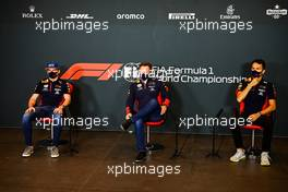 (L to R): Max Verstappen (NLD) Red Bull Racing; Christian Horner (GBR) Red Bull Racing Team Principal; and Alexander Albon (THA) Red Bull Racing, in the FIA Press Conference. 30.10.2020. Formula 1 World Championship, Rd 13, Emilia Romagna Grand Prix, Imola, Italy, Practice Day.