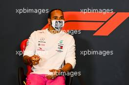 Lewis Hamilton (GBR) Mercedes AMG F1 in the FIA Press Conference. 30.10.2020. Formula 1 World Championship, Rd 13, Emilia Romagna Grand Prix, Imola, Italy, Practice Day.