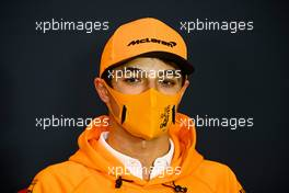 Lando Norris (GBR) McLaren in the FIA Press Conference. 30.10.2020. Formula 1 World Championship, Rd 13, Emilia Romagna Grand Prix, Imola, Italy, Practice Day.