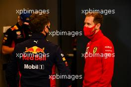 (L to R): Christian Horner (GBR) Red Bull Racing Team Principal with Sebastian Vettel (GER) Ferrari in the FIA Press Conference. 30.10.2020. Formula 1 World Championship, Rd 13, Emilia Romagna Grand Prix, Imola, Italy, Practice Day.