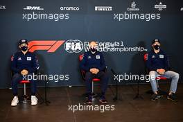 (L to R): Pierre Gasly (FRA) AlphaTauri; Franz Tost (AUT) AlphaTauri Team Principal; and Daniil Kvyat (RUS) AlphaTauri, in the FIA Press Conference. 30.10.2020. Formula 1 World Championship, Rd 13, Emilia Romagna Grand Prix, Imola, Italy, Practice Day.