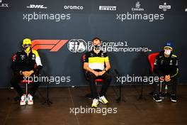 (L to R): Esteban Ocon (FRA) Renault F1 Team; Alan Permane (GBR) Renault F1 Team Trackside Operations Director; and Daniel Ricciardo (AUS) Renault F1 Team, in the FIA Press Conference. 30.10.2020. Formula 1 World Championship, Rd 13, Emilia Romagna Grand Prix, Imola, Italy, Practice Day.