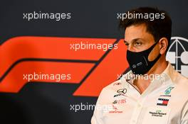 Toto Wolff (GER) Mercedes AMG F1 Shareholder and Executive Director in the FIA Press Conference. 30.10.2020. Formula 1 World Championship, Rd 13, Emilia Romagna Grand Prix, Imola, Italy, Practice Day.