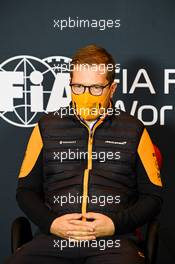 Andreas Seidl, McLaren Managing Director in the FIA Press Conference. 30.10.2020. Formula 1 World Championship, Rd 13, Emilia Romagna Grand Prix, Imola, Italy, Practice Day.