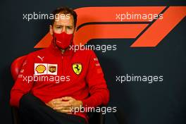 Sebastian Vettel (GER) Ferrari in the FIA Press Conference. 30.10.2020. Formula 1 World Championship, Rd 13, Emilia Romagna Grand Prix, Imola, Italy, Practice Day.