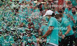 Lewis Hamilton (GBR) Mercedes AMG F1 and the Mercedes AMG F1 team celebrate a 1-2 finish and their seventh consecutive Constructors' title. 01.11.2020. Formula 1 World Championship, Rd 13, Emilia Romagna Grand Prix, Imola, Italy, Race Day.