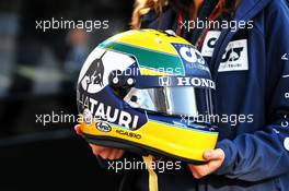 The helmet of Pierre Gasly (FRA) AlphaTauri. 31.10.2020. Formula 1 World Championship, Rd 13, Emilia Romagna Grand Prix, Imola, Italy, Qualifying Day.