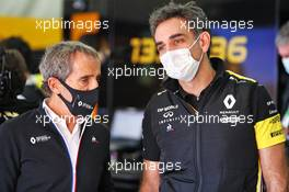 (L to R): Alain Prost (FRA) Renault F1 Team Non-Executive Director with Cyril Abiteboul (FRA) Renault Sport F1 Managing Director. 31.10.2020. Formula 1 World Championship, Rd 13, Emilia Romagna Grand Prix, Imola, Italy, Qualifying Day.