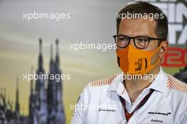 Andreas Seidl, McLaren Managing Director in the FIA Press Conference. 04.09.2020. Formula 1 World Championship, Rd 8, Italian Grand Prix, Monza, Italy, Practice Day.
