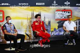 The FIA Press Conference (L to R): Mario Isola (ITA) Pirelli Racing Manager; Mattia Binotto (ITA) Ferrari Team Principal; Andreas Seidl, McLaren Managing Director. 04.09.2020. Formula 1 World Championship, Rd 8, Italian Grand Prix, Monza, Italy, Practice Day.