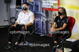 (L to R): Toto Wolff (GER) Mercedes AMG F1 Shareholder and Executive Director and Claire Williams (GBR) Williams Racing Deputy Team Principal in the FIA Press Conference. 04.09.2020. Formula 1 World Championship, Rd 8, Italian Grand Prix, Monza, Italy, Practice Day.