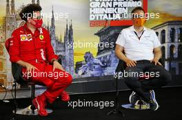 (L to R): Mattia Binotto (ITA) Ferrari Team Principal and Andreas Seidl, McLaren Managing Director in the FIA Press Conference. 04.09.2020. Formula 1 World Championship, Rd 8, Italian Grand Prix, Monza, Italy, Practice Day.