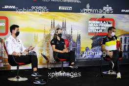 The FIA Press Conference (L to R): Toto Wolff (GER) Mercedes AMG F1 Shareholder and Executive Director; Claire Williams (GBR) Williams Racing Deputy Team Principal; Cyril Abiteboul (FRA) Renault Sport F1 Managing Director. 04.09.2020. Formula 1 World Championship, Rd 8, Italian Grand Prix, Monza, Italy, Practice Day.