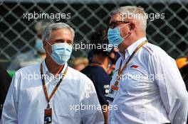 (L to R): Chase Carey (USA) Formula One Group Chairman with Ross Brawn (GBR) Managing Director, Motor Sports on the grid. 06.09.2020. Formula 1 World Championship, Rd 8, Italian Grand Prix, Monza, Italy, Race Day.
