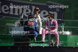 Carlos Sainz Jr (ESP) McLaren with Pierre Gasly (FRA) AlphaTauri and Lance Stroll (CDN) Racing Point F1 Team. 06.09.2020. Formula 1 World Championship, Rd 8, Italian Grand Prix, Monza, Italy, Race Day.