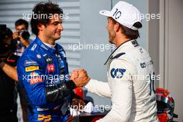 Race winner Pierre Gasly (FRA) AlphaTauri celebrates in parc ferme with second placed Carlos Sainz Jr (ESP) McLaren. 06.09.2020. Formula 1 World Championship, Rd 8, Italian Grand Prix, Monza, Italy, Race Day.