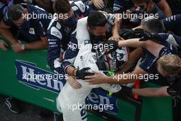 Race winner Pierre Gasly (FRA) AlphaTauri celebrates with the team in parc ferme. 06.09.2020. Formula 1 World Championship, Rd 8, Italian Grand Prix, Monza, Italy, Race Day.