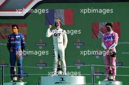 The podium (L to R): Carlos Sainz Jr (ESP) McLaren, second; Pierre Gasly (FRA) AlphaTauri, race winner; Lance Stroll (CDN) Racing Point F1 Team, third. 06.09.2020. Formula 1 World Championship, Rd 8, Italian Grand Prix, Monza, Italy, Race Day.