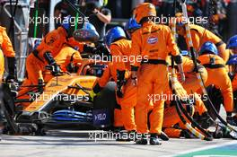 Carlos Sainz Jr (ESP) McLaren MCL35 makes a pit stop. 06.09.2020. Formula 1 World Championship, Rd 8, Italian Grand Prix, Monza, Italy, Race Day.