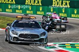 Lewis Hamilton (GBR) Mercedes AMG F1 W11 leads behind the FIA Safety Car. 06.09.2020. Formula 1 World Championship, Rd 8, Italian Grand Prix, Monza, Italy, Race Day.