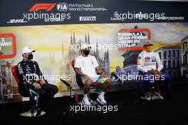 (L to R): Valtteri Bottas (FIN) Mercedes AMG F1; Lewis Hamilton (GBR) Mercedes AMG F1; and Carlos Sainz Jr (ESP) McLaren, in the post qualifying FIA Press Conference. 05.09.2020. Formula 1 World Championship, Rd 8, Italian Grand Prix, Monza, Italy, Qualifying Day.