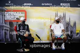 (L to R): Valtteri Bottas (FIN) Mercedes AMG F1 and Lewis Hamilton (GBR) Mercedes AMG F1 in the post qualifying FIA Press Conference. 05.09.2020. Formula 1 World Championship, Rd 8, Italian Grand Prix, Monza, Italy, Qualifying Day.