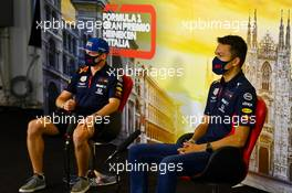 (L to R): Max Verstappen (NLD) Red Bull Racing and Alexander Albon (THA) Red Bull Racing in the FIA Press Conference. 03.09.2020. Formula 1 World Championship, Rd 8, Italian Grand Prix, Monza, Italy, Preparation Day.