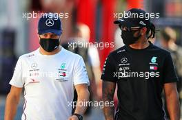 (L to R): Valtteri Bottas (FIN) Mercedes AMG F1 with team mate Lewis Hamilton (GBR) Mercedes AMG F1. 03.09.2020. Formula 1 World Championship, Rd 8, Italian Grand Prix, Monza, Italy, Preparation Day.