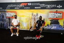 (L to R): Valtteri Bottas (FIN) Mercedes AMG F1 and Lewis Hamilton (GBR) Mercedes AMG F1 in the FIA Press Conference. 03.09.2020. Formula 1 World Championship, Rd 8, Italian Grand Prix, Monza, Italy, Preparation Day.