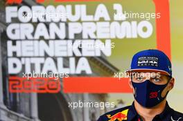 Max Verstappen (NLD) Red Bull Racing in the FIA Press Conference. 03.09.2020. Formula 1 World Championship, Rd 8, Italian Grand Prix, Monza, Italy, Preparation Day.