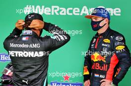 (L to R): Race winner Lewis Hamilton (GBR) Mercedes AMG F1 in parc ferme with Max Verstappen (NLD) Red Bull Racing. 25.10.2020. Formula 1 World Championship, Rd 12, Portuguese Grand Prix, Portimao, Portugal, Race Day.