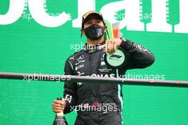 Race winner Lewis Hamilton (GBR) Mercedes AMG F1 celebrates on the podium. 25.10.2020. Formula 1 World Championship, Rd 12, Portuguese Grand Prix, Portimao, Portugal, Race Day.