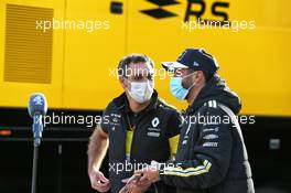 (L to R): Cyril Abiteboul (FRA) Renault Sport F1 Managing Director with Daniel Ricciardo (AUS) Renault F1 Team. 24.10.2020. Formula 1 World Championship, Rd 12, Portuguese Grand Prix, Portimao, Portugal, Qualifying Day.