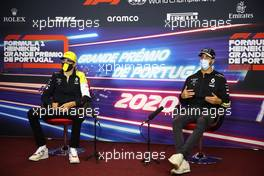 (L to R): Esteban Ocon (FRA) Renault F1 Team and team mate Daniel Ricciardo (AUS) Renault F1 Team in the FIA Press Conference. 22.10.2020. Formula 1 World Championship, Rd 12, Portuguese Grand Prix, Portimao, Portugal, Preparation Day.