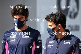 (L to R): Lance Stroll (CDN) Racing Point F1 Team with Sergio Perez (MEX) Racing Point F1 Team. 22.10.2020. Formula 1 World Championship, Rd 12, Portuguese Grand Prix, Portimao, Portugal, Preparation Day.