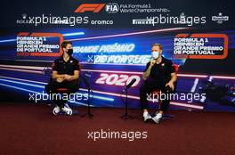 (L to R): Romain Grosjean (FRA) Haas F1 Team and team mate Kevin Magnussen (DEN) Haas F1 Team in the FIA Press Conference. 22.10.2020. Formula 1 World Championship, Rd 12, Portuguese Grand Prix, Portimao, Portugal, Preparation Day.