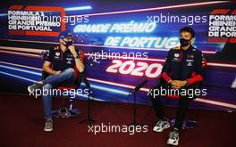 (L to R): Max Verstappen (NLD) Red Bull Racing with team mate Alexander Albon (THA) Red Bull Racing in the FIA Press Conference. 22.10.2020. Formula 1 World Championship, Rd 12, Portuguese Grand Prix, Portimao, Portugal, Preparation Day.