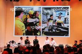 (L to R): Mia Sharizman (MAL) Renault Sport Academy Director; Esteban Ocon (FRA) Renault F1 Team; Daniel Ricciardo (AUS) Renault F1 Team; Cyril Abiteboul (FRA) Renault Sport F1 Managing Director; Alain Prost (FRA) Renault F1 Team Non-Executive Director. 12.02.2020. Renault F1 Team Season Opener, L'Atelier Renault, Paris, France, Wednesday.