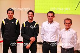 (L to R): Esteban Ocon (FRA) Renault F1 Team; Daniel Ricciardo (AUS) Renault F1 Team; Cyril Abiteboul (FRA) Renault Sport F1 Managing Director; Alain Prost (FRA) Renault F1 Team Non-Executive Director. 12.02.2020. Renault F1 Team Season Opener, L'Atelier Renault, Paris, France, Wednesday.