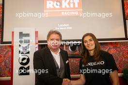 Jonathan Kendrick Co-founder and Chairman of the ROKiT Group of Companies with Tatiana Calderon. . 02.03.2020. ROKiT Racing brand launch, Covent Garden, London, UK.