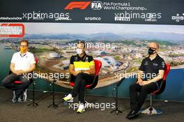 The FIA Press Conference (L to R): Andreas Seidl, McLaren Managing Director; Cyril Abiteboul (FRA) Renault Sport F1 Managing Director; Simon Roberts (GBR) Williams Racing F1 Acting Team Principal. 25.09.2020. Formula 1 World Championship, Rd 10, Russian Grand Prix, Sochi Autodrom, Sochi, Russia, Practice Day.