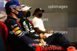 Max Verstappen (NLD) Red Bull Racing in the post race FIA Press Conference. 27.09.2020. Formula 1 World Championship, Rd 10, Russian Grand Prix, Sochi Autodrom, Sochi, Russia, Race Day.